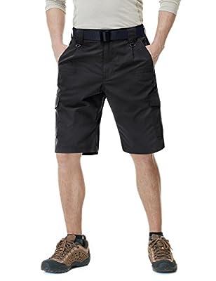 CQR Mens Hiking Tactical Shorts, Quick Dry Fishing Shorts, Lightweight Outdoor Rip-Stop EDC Assault Cargo Short, Tactical Shorts(tsp203) - Black, 34