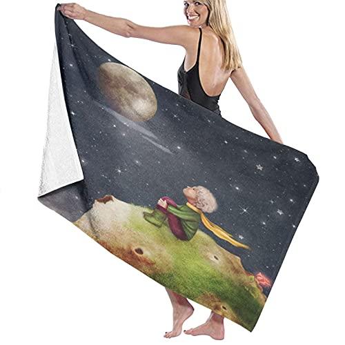 TISAGUER Toalla de baño El Principito con Una Rosa En Un Planeta En El Hermoso Cielo Nocturno Ilustración Arte Suave Hoja de baño de para el hogar,los baños,la Piscina Toallas Baño Toalla de Playa