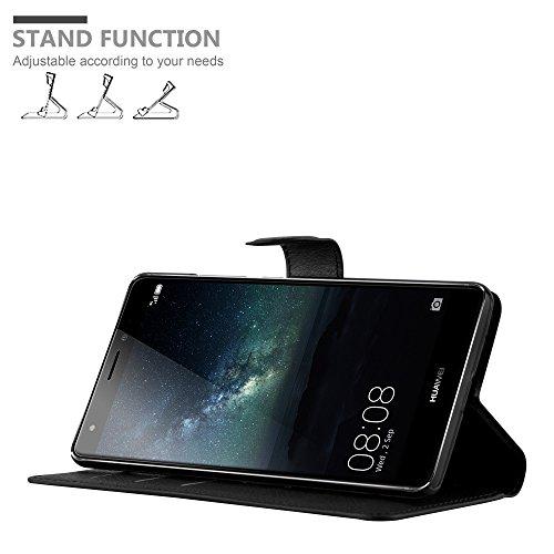 Cadorabo Hülle für Huawei Mate S - Hülle in Phantom SCHWARZ – Handyhülle mit Kartenfach und Standfunktion - Case Cover Schutzhülle Etui Tasche Book Klapp Style - 2