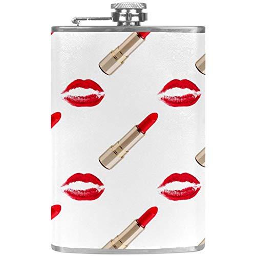 Sexy Golden Lipstick Maquillaje Plano Botella de licor de 8 onzas con embudo – Acero inoxidable y 100% a prueba de fugas