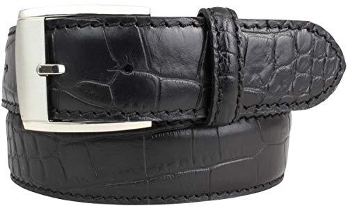 Gürtel mit Krokoprägung 4 cm   Leder-Gürtel für Damen Herren 40mm Kroko-Optik   Kroko-Muster Schnalle Silber   Schwarz 110cm