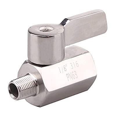 DERNORD 1/8 Inch Stainless Steel Mini Ball Valve NPT FxM Thread with Stainless Handle by DERNORD