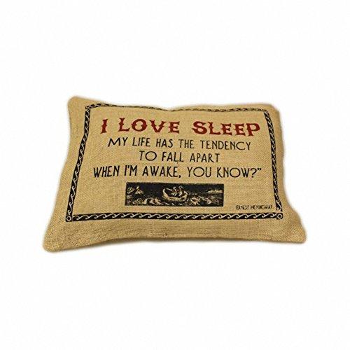 Jute Housse de coussin - J'aime sommeil