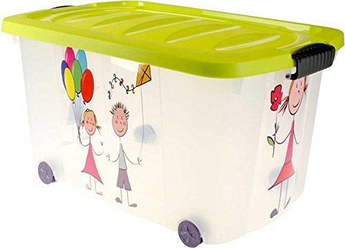 made2trade Spielzeugkiste (Multibox) mit Rollen | Kinder-Muster und grünen Deckel