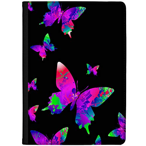 Azzumo Colourful Abstract Butterfly Illustration - Neon Faux Leather Case Cover/Folio for the Vodafone Smart Tab N8 (2017)