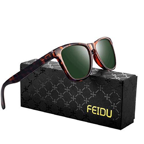 FEIDU Retro Polarisierte Damen Sonnenbrille- Herren Sonnenbrille Outdoor UV400 Brille,Farblinse, Strandreisen unerlässlich für Fahren Angeln Reisen FD 0628 (3-Leopard-Grün, 60)