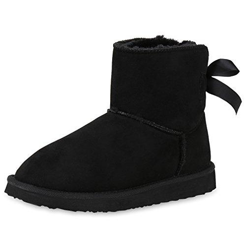 SCARPE VITA Damen Schlupfstiefel Warm Gefütterte Stiefeletten Schleifen Schuhe 152331 Schwarz...
