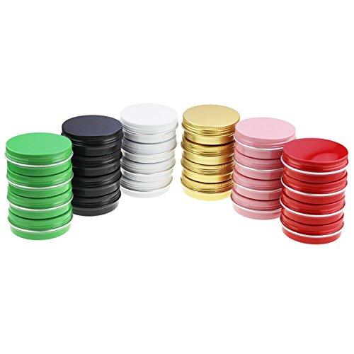 24 Stück Multi-Colored Runde Aluminiumdosen Schraubdeckel Metalldosen Gläser Leere Rutsche Slide Container (2 oz / 60 ml)