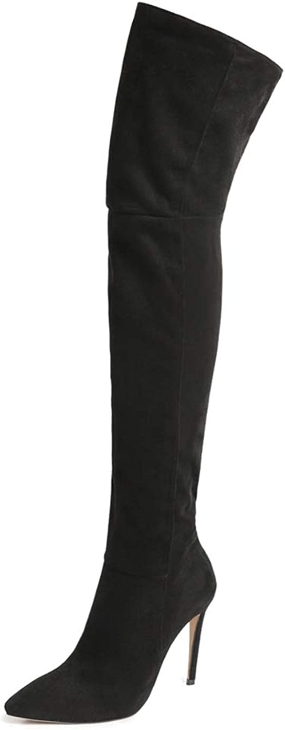 shoes'N Tale Women's Thigh High Over The Knee Stiletto Heel Pointy Toe Stretch Boots