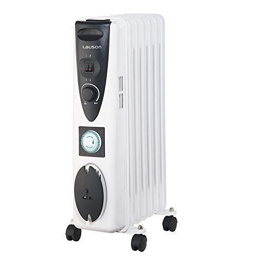 Lauson Radiador eléctrico de Aceite Temporizador Programable, 3 Niveles de Potencia, Protección contra Sobrecalentamiento y Recogecables, Ahorro Energético, Blanco (1500 W)