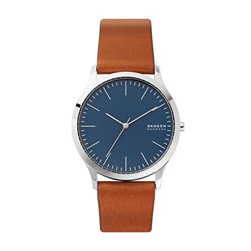 Skagen Men's Jorn Quartz Analog Stainless Steel and Leather Watch, Color: Silver/Blue (Model: SKW6546)