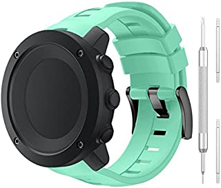 QGHXO Band for Suunto Ambit3 Vertical, Classic Replacement Soft Silicone Wristband Strap with Metal Buckle for Suunto Ambit3 Vertical Smart Watch, Fits 3.9 inches-9.0 inches (100mm-230mm) Wrist