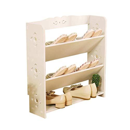 Zapatero Blanco Gabinete de Almacenamiento de 3 Niveles Apilable Hogar Tallado Simple Creativo a Prueba de Polvo con estantes Planos y en ángulo Zapatero
