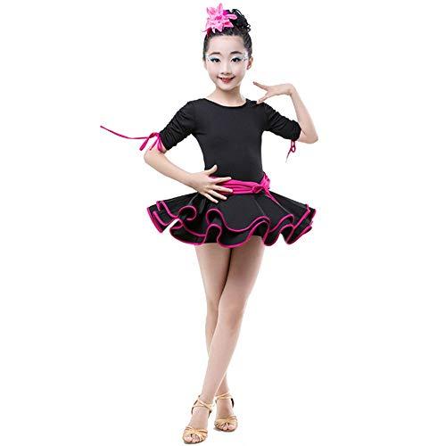 Vestido de baile latino para niñas Vestimenta infantil, traje de baile latino, traje de rumba, samba, niñas, fruncido, salón de baile, ropa de baile fluida con volantes, vestido de tutú, competencia,