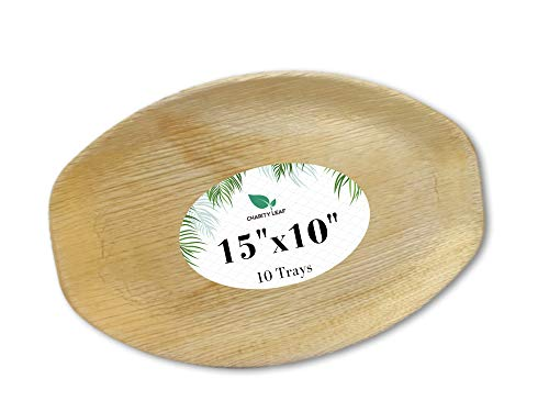 Charity Leaf Disposable Palm Leaf Bamboo Like Serving Tray and Platter  All Natural and Biodegradable  Weddings Charcuterie Boards BBQs and Parties 15 x 10 Oval 10 pc