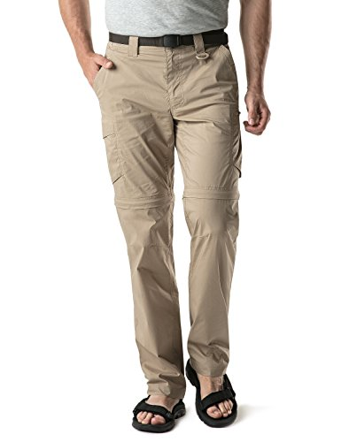 CQR Men's Convertible Cargo Pants, Water Repellent Hiking Pants, Zip Off Lightweight Stretch UPF 50+ Work Outdoor Pants, Convertible Cargo with Belt(txp403) - Khaki, 34W x 30L