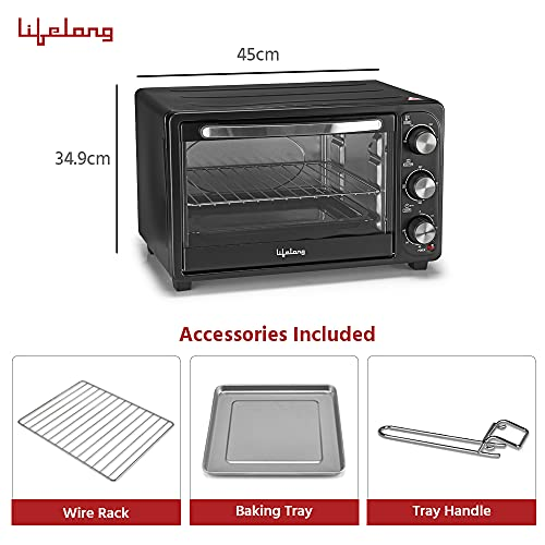Lifelong Oven, Toaster & Griller, 23 Litres OTG Oven for Baking Cake with 4 Heating Modes| Temperature & Timer Selection Oven for Kitchen(Black)