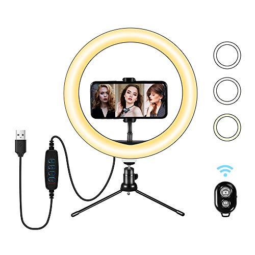 LED Ring Light 10' avec Trépied et Télécommande Bluetooth, Anneau de Lumière Selfie de Bureau avec Gradation 3 Modes D'éclairage et 10 Niveaux de Luminosité pour Vidéo Youtube