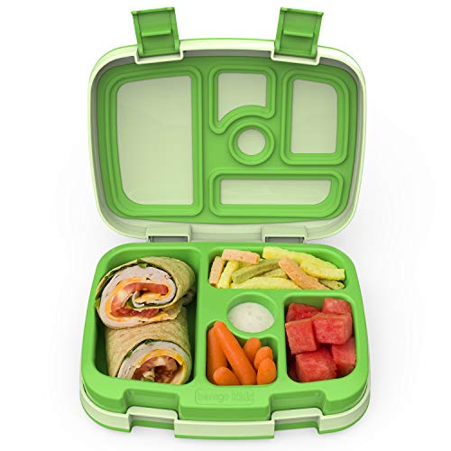 Bentgo Kids Children's Lunch Box - Leak-Proof, 5-Compartment Bento-Style Kids Lunch Box - Ideal Portion Sizes for Ages 3 to 7 - BPA-Free, Dishwasher Safe, Food-Safe Materials (Green)