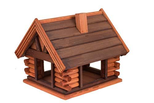 MAZUR International Bird feeder, table, birds house, wooden garden feeding station, bath, large tray, hanging or free standing, hotel, birdhouse for wild robin (alder + rosewood)