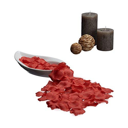 Relaxdays 10020575_47 Petali di Rosa Finti, Confezione da 500 Pezzi, Colorati, Decorazioni Matrimonio, Rosso