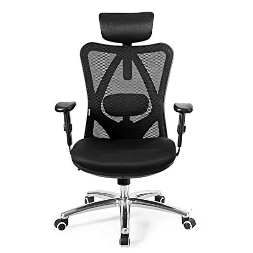 Giantex Ergonomic Office Chair, Mesh Office Chair with Adjustable Headrest, Tilt-Down Backrest Mesh Adjustable High Back Office Chair, Breathable Computer Desk Chair, Mesh Back Office Chair