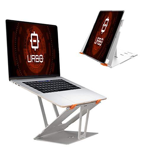 Urbo Kano Faltbarer Laptop Ständer, tragbarer und ergonomischer Notebook Ständer mit Höhen- und Winkeleinstellungen für Büros, Co-Working und Zuhause