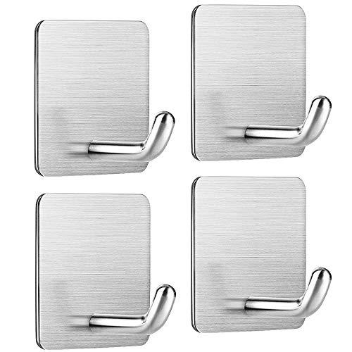 Handtuchhaken Selbstklebend, Edelstahl, Haken Ohne Bohren, 4 Stück Klebehaken für Bad Toilette Küche Büro
