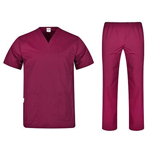 B-well Colombo Divisa Sanitaria Donna e Uomo   Uniforme Sanitaria Donna e Uomo Unisex Set con Casacca e Pantalone   Divise Sanitarie rosso vivo S