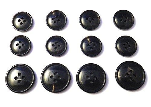 本水牛ボタン スーツ1着分セット ��994 漆黒 丸みのある優しいライン
