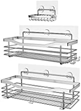 Orimade Shower Caddy Basket Soap Dish Holder Shelf with 5 Hooks Bathroom Organizer Shelf Kitchen Storage Rack Wall Mounted Adhesive No Drilling SUS304 Stainless Steel - 3 Pack