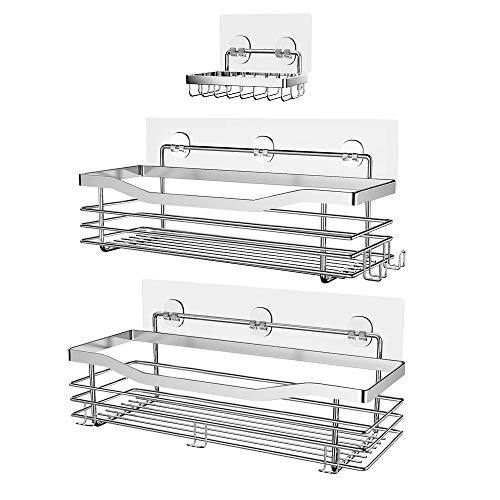 Orimade Shower Caddy Basket Soap Dish Holder Shelf with 5 Hooks Bathroom Organizer Shelf Kitchen Storage Rack Wall Mounted Adhesive No Drilling SUS304 Stainless Steel  3 Pack