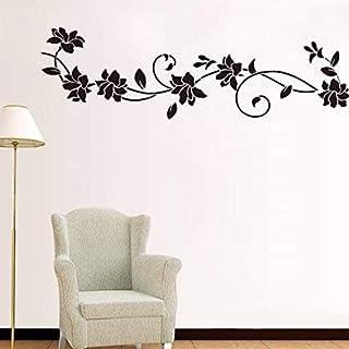 (Soutien personnalisation) Fleur Noire Vigne Stickers Muraux Réfrigérateur Armoire De Fenêtre Décorations Pour La Maison D...