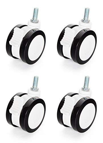 RICOO WMZ001, Möbelrollen mit Bremse, 75mm Klein, 4 Stück, Kunststoff, Schwarz Weiß, Schwenkrolle, Lenkrolle, Rollen mit Feststeller für Möbel