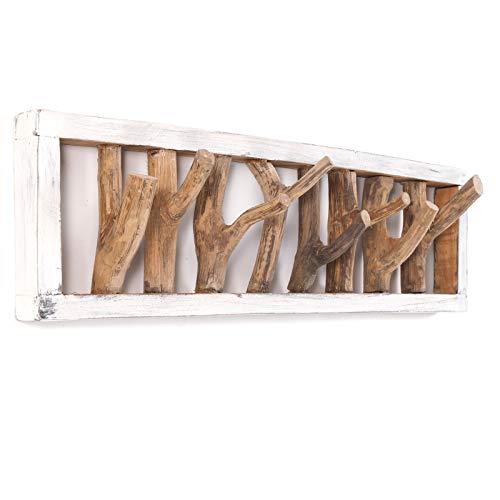 DESIGN DELIGHTS RUSTIKALE WANDGARDEROBE TREIBHOLZ UNIKAT | 80x22x12 cm (BxHxT), Recyclingholz, Shabby Chic | Kleiderhaken aus Ästen | Farbe: 05 weiß-Natur