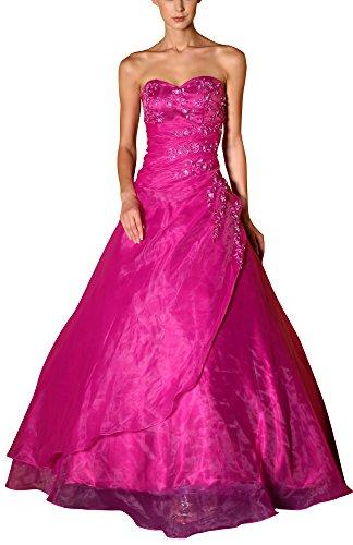 Romantic-Fashion Damen Ballkleid Abendkleid Brautkleid Lang Modell E481 A-Linie Satin Stickerei...