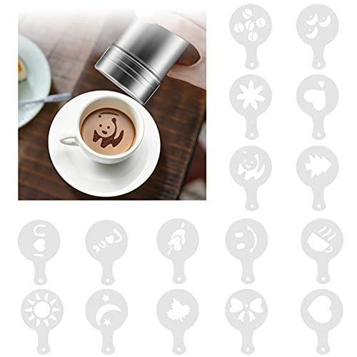 Edelstahl Puderzuckerstreuer/Kakaostreuer mit 16 Stück Druckformen Schablonen,Mesh Shaker Pulver Dosen für Kaffee