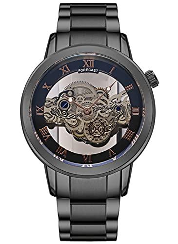 Herenhorloge Hollow Tourbillon Ultra-Thin Automatic Watch Paar Horloge Quartz Steel Band Watch (horlogeband kan worden aangepast) black