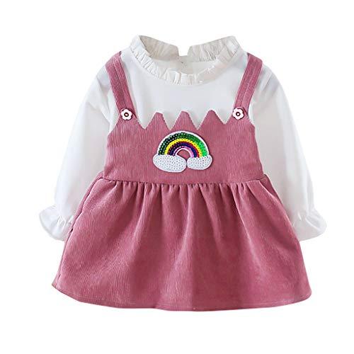 Janly Liquidación Venta Vestido de Niñas para 0-10 Años, Niña Vestido Princesa, Mangas Largas Color Puro Empalme Patrón Arco Iris Vestido, rosa, 2-3 años