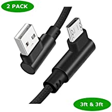 Micro USB Cable Android (2 Pack 3ft) Fast Charging Micro USB Cable 90 Degree Right Angle Nylon Braided Micro Charger Cord Micro Sync Line Compatible for Samsung Galaxy S7/S6 Edge, HTC and More (Black)