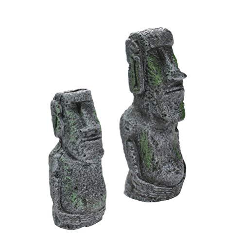 STOBOK 2 Piezas de Isla de Pascua Cabeza de Piedra de Acuario Ornamental Resina Moai Estatuas Pecera Paisaje Retrato Cabeza Vintage Decoración de Acuario Escultura de Monolito Arte