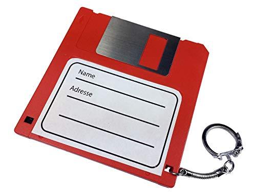 Miniblings Bolso del sostenedor ID Kofferanhänger Disquete Floppy Retro Red