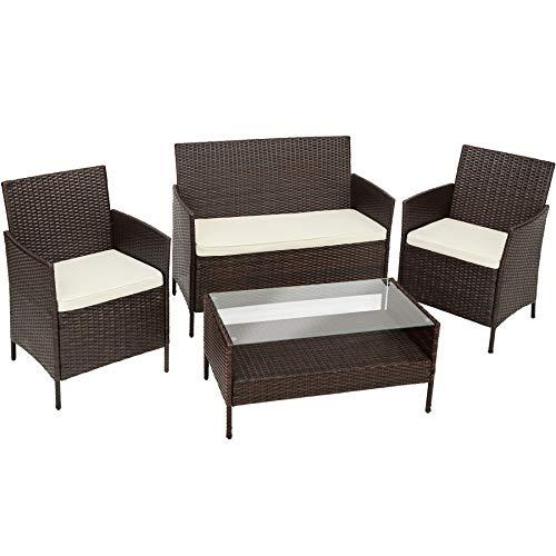 TecTake Polyrattan Gartenmöbel | Set besteht aus 1 Tisch, 2 Stühlen, 1 Sitzbank und dazu passende Sitzkissen | Braun