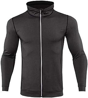 BEESCLOVER New Mens Running Jackets Fitness Sports Coat Hooded Tight Hoodie Gym Soccer Training Run Jogging Jackets Reflective Zipper
