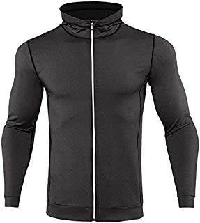 BEESCLOVER New Mens Running Jackets Fitness Sports Coat Hooded Tight Hoodie Gym Soccer Training Run Jogging Jackets Reflective Zipper