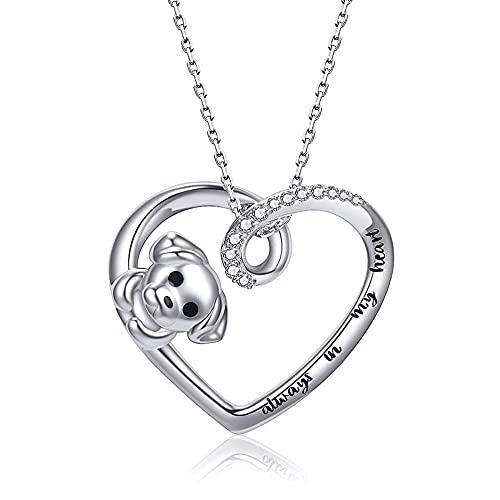 XQAQW Collar Colgante de Pata de Perro y corazón 925 Plata esterlina de la Cadena de Las Mujeres Lindo Pata de Perro -3_45Cm_and_5Cm