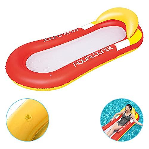 Luftmatratze Wasserhängematte Hängematte Matratzen Wasseriege , Strandmatte Floating Lounge Stuhl,Luftmatratze Wasserhängematte Perfekte Badehängematte mit Kopfteil. (Rot)