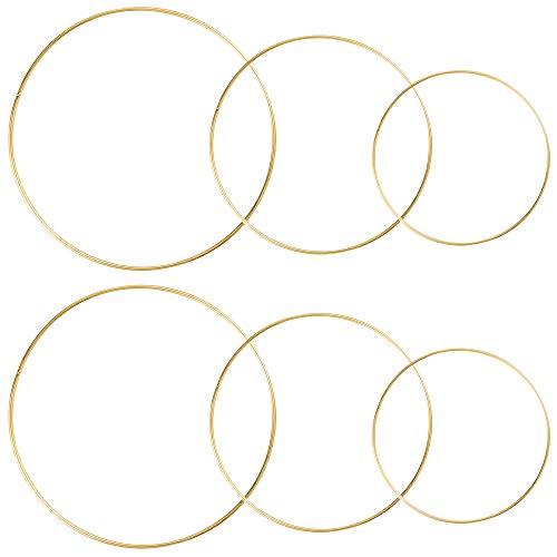 Sntieecr 6 Stück 3 Größen (20 cm, 25 cm und 30 cm) Metall Blumenkranz Makramee Goldringe zur Herstellung von Hochzeitskranz, Traumfänger und Makramee-Wandaufhängung