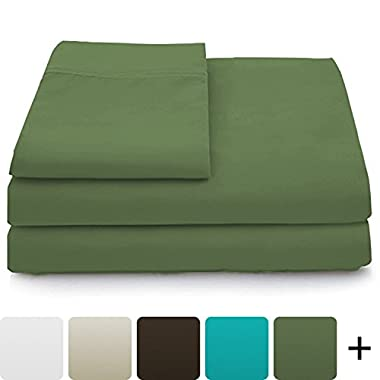 Cosy House Collection Luxury Bamboo Sheets - 4 Piece Bedding Set - High Blend From Organic Bamboo Fiber - Soft Wrinkle Free Fabric - 1 Fitted Sheet, 1 Flat, 2 Pillow Cases - Queen, Sage Green