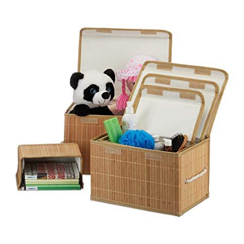Relaxdays Aufbewahrungskorb 5er Set, mit Deckel + Klettverschluss, Bambuskorb, dekorative Aufbewahrungsbox, naturfarben